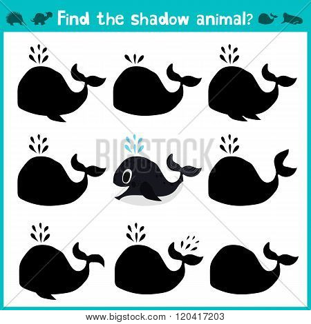 Educational Children Cartoon Game For Children Of Preschool Age. Find The Right Shade Cute Sea Whale