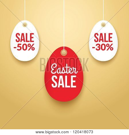 Easter Sale background poster with eggs and discounts percentage