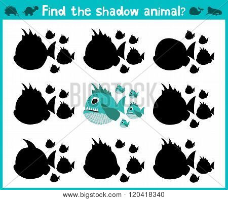 Educational Children Cartoon Game For Children Of Preschool Age. Find The Right Shadow Of A Predator