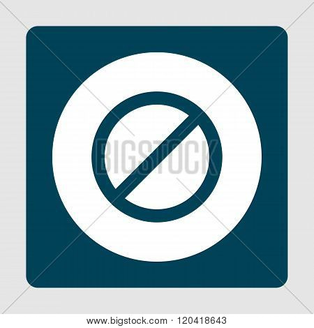 No Entry Icon, On White Circle Background Surrounded By Blue