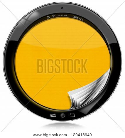 Round Tablet Computer Isolated On White