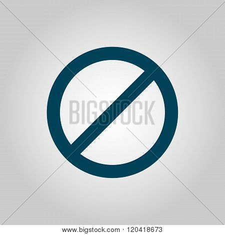 No Entry Icon, On Grey Background, Blue Outline, Large Size Symbol