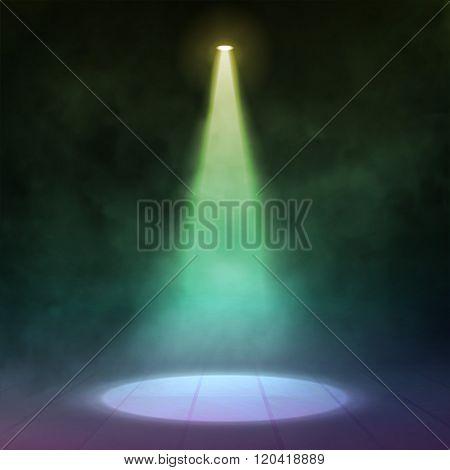 Floodlight spotlight illuminates wooden scene. Vector illustartion.