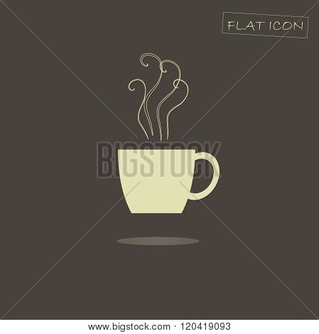 Flat icon of a steaming cup. Light steaming cup on a dark background, shadow