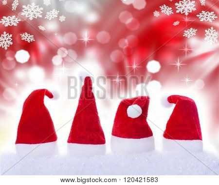 Christmas Hats, Snow, Stars