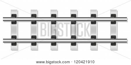 Railway Rails And Concrete Sleepers Vector Illustration