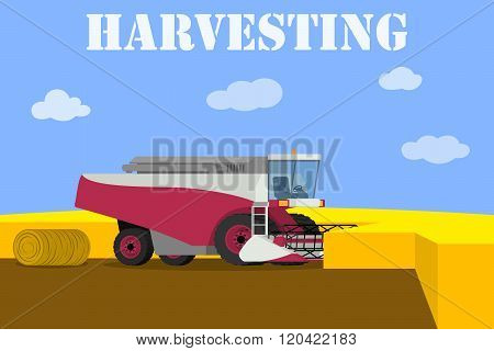 Agricultural machinery - vector red harvester working on the field