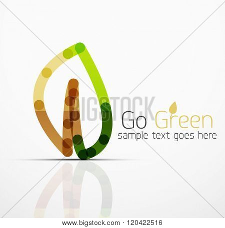 abstract logo idea, eco leaf, nature plant, green concept business icon. Creative logotype design template