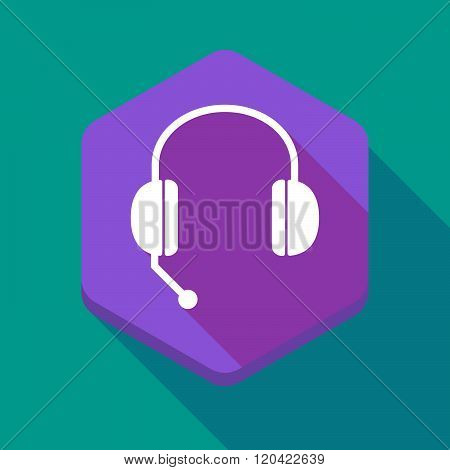 Long Shadow Hexagon Icon With  A Hands Free Phone Device