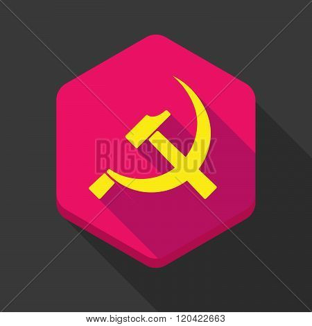Long Shadow Hexagon Icon With  The Communist Symbol