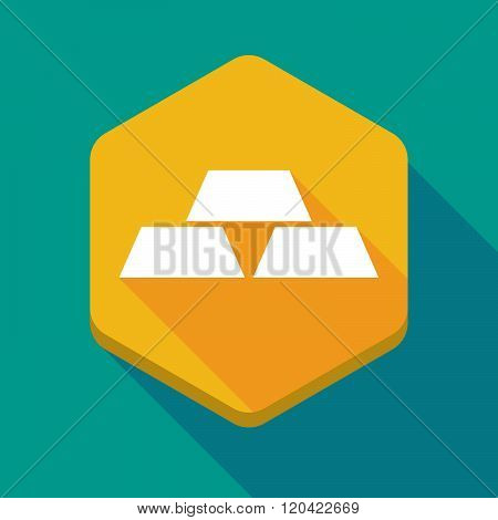 Long Shadow Hexagon Icon With Three Gold Bullions