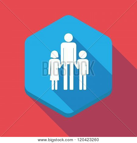 Long Shadow Hexagon Icon With A Male Single Parent Family Pictogram