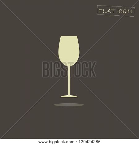 Flat icon glass. Light glass on a dark background. Icon vector