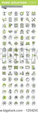 Thin line icons set of banking, business workflow and career opportunities