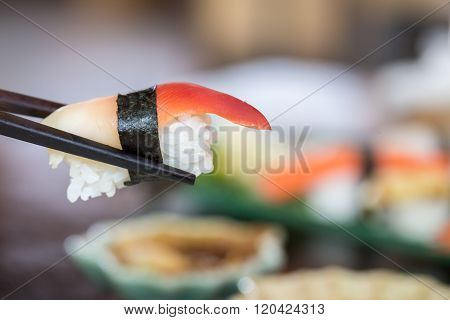 Sushi Tuna With Chopsticks, Japanese Food