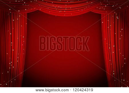 red curtains on red background with glittering stars. open curtains as theater or movie presentation or cinema award announcement with space for text. vector template for Your design