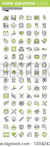 Thin line icons set of health care and medicine theme