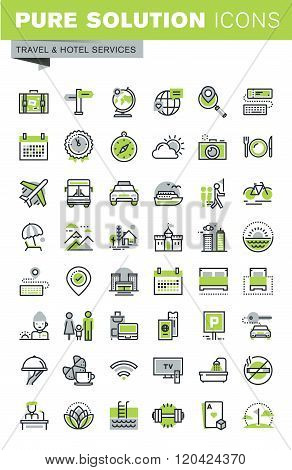 Thin line icons set of travel and hotel services