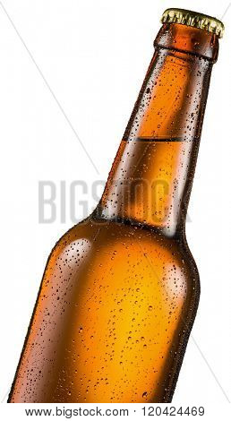 Cold bottle of beer with condensated water drops on it. File contains clipping paths.