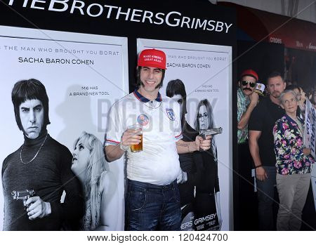 Sacha Baron Cohen at the Los Angeles premiere of 'The Brothers Grimsby' held at the Regency Village Theatre in Westwood, USA on March 3, 2016.