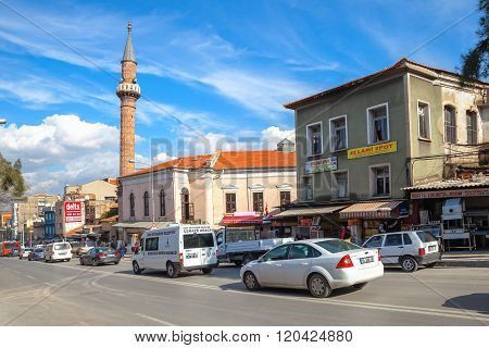 Street View With Mosque, Izmir City, Turkey