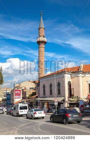 Street View With Mosque. Izmir, Turkey