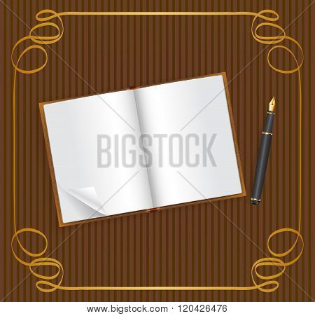 Open book with empty space for text and pen on vintage brown background with golden frame