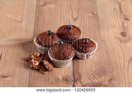 Muffins decorated with blueberries
