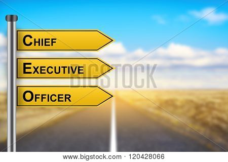 Ceo Or Chief Executive Officer Words On Yellow Road Sign