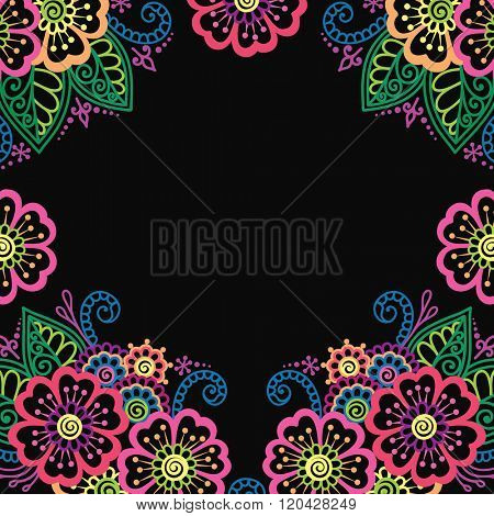 Black frame with colorful flowers, lace ornament