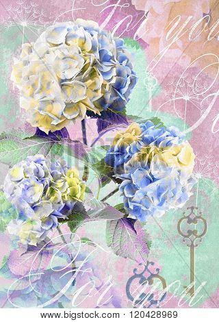 Floral Postcard. Can Be Used For Greeting Or Invitation, Mothers Day, Valentines Day, Birthday Cards