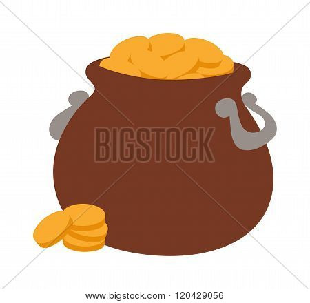 Gold pot vector illustration icon