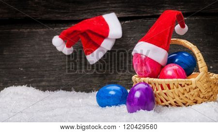 Christmas Hats Hanging On A Nail, Easter Eggs