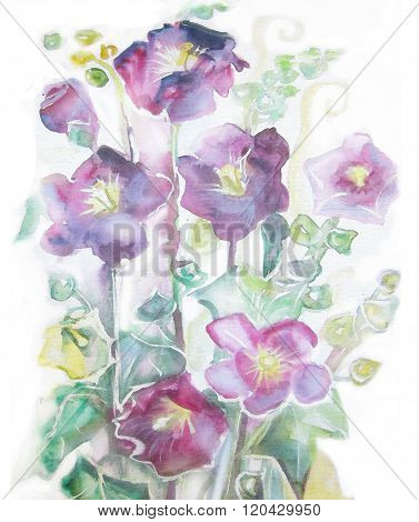 Violet Mallow Flowers. Watercolor Hand Painted Illustration Of Violet Mallow Flowers On Long Stems.