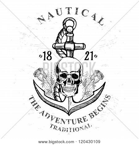 Pirate skull with anchor design.