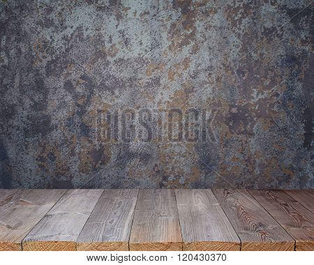 Empty Wooden Deck On The Background Of Old Walls.