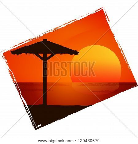 Sunset on the beach. Vector background.