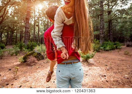 Couple having piggyback
