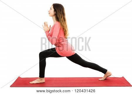 Crescent Pose With Namaste In Profile