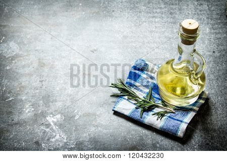 Olive Oil With Rosemary Branch.