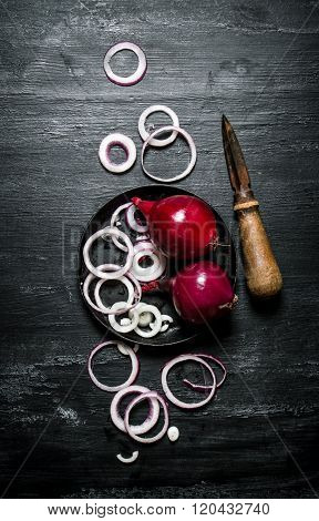Fresh Red Onion Cut Into Rings.