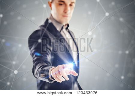 young businessman and futuristic network concept