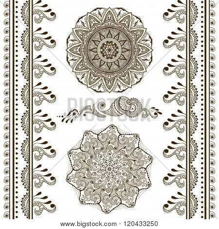 Vector Set Of Hand Drawn Decorative Elements In Ethnic Indian Style. Collection Of Pattern Brushes I