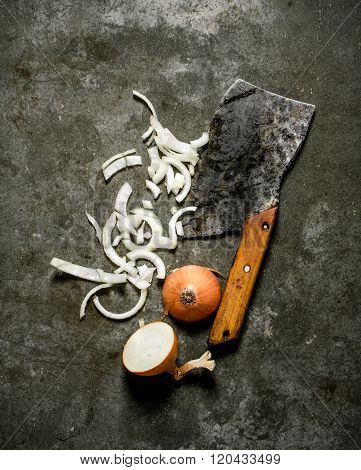 Chopped Onion With An Old Hatchet.