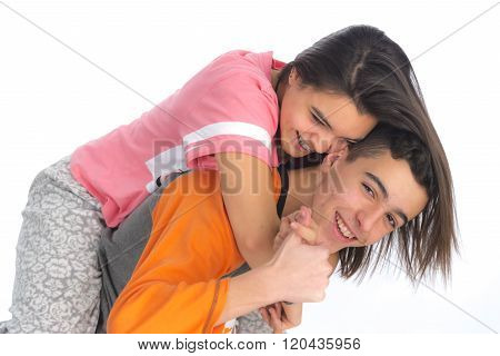 Funny Teen Couple, Smiling Newly  Wake Up And Dressed In Their Pajamas VII