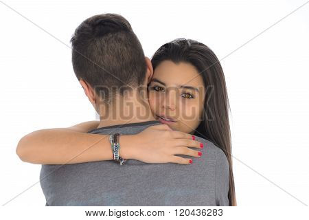 Teenager Woman Embracing For The First Time The Boy She Likes