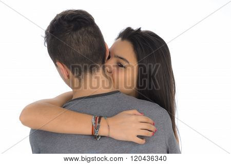 Teenager Woman Embracing For The First Time The Boy She Likes II