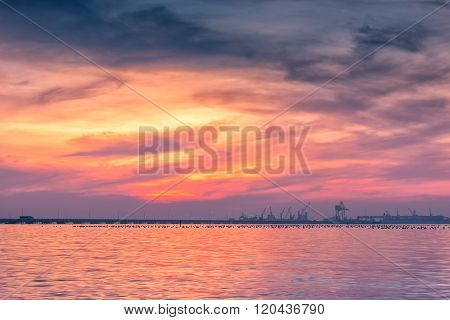 Sunset scene at gulf of Thailand, Twilight.