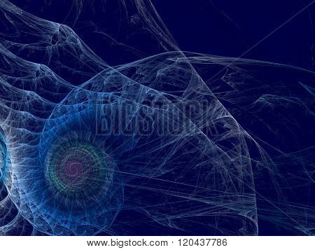 Abstract wavy background computer-generated image spiral like sea shell. Fractal background with copyspace. For banners posters and web-design