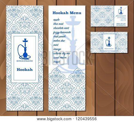 Vector Illustration Of A Menu For A Restaurant Or Cafe Arabian Oriental Cuisine With Hookah, Busines